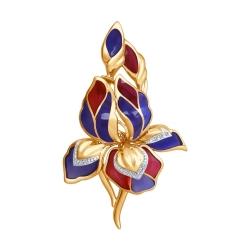 Золотая брошь Орхидея с эмалью с бриллиантами Art