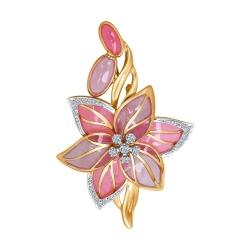 Брошь Цветок из комбинированного золота с эмалью с бриллиантами Art