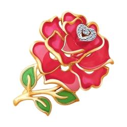 Брошь Роза из золота с эмалью и бриллиантами