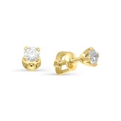 Гвоздики из желтого золота с бриллиантами