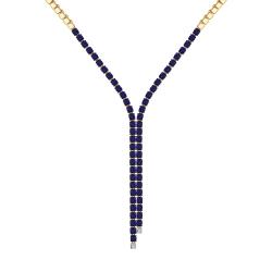 Золотое колье с бриллиантами и корундами сапфировыми (синт.) SOKOLOV