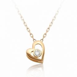Золотое колье Сердце с одним бриллиантом