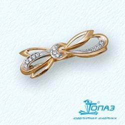 Золотая брошь Бантик с бриллиантами