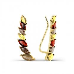 Серьги из желтого золота с гранатами, раухтопазами, цитринами