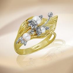 Кольцо Ландыши из желтого золота с белым жемчугом, бриллиантами