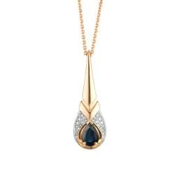 Колье из золота с сапфиром и бриллиантом