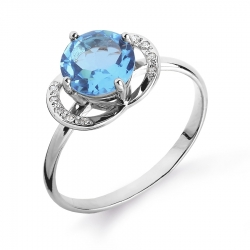 Женское кольцо из белого золота с топазом и бриллиантом