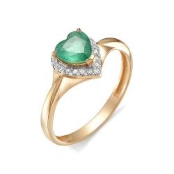 Кольцо из золота с изумрудом Сердце и бриллиантом