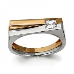 Мужское золотое кольцо Геометрия с фианитом