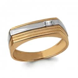 Мужское золотое кольцо с фианитом