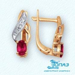 Золотые серьги с рубином и бриллиантом