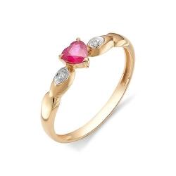Золотое кольцо с рубином Сердце и бриллиантами