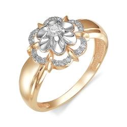 Золотое кольцо Цветок с бриллиантами