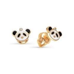 Золотые серьги гвоздики Панда с бриллиантами