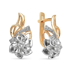 Золотые серьги Цветы бриллиантами