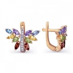 Золотые серьги Бабочки с цветными камнями