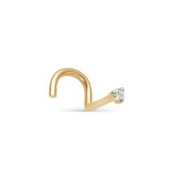 Золотой пирсинг для носа с бриллиантом