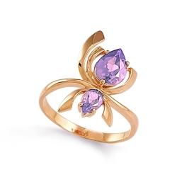 Золотое кольцо Паук с аметистами