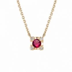 Колье из красного золота с рубином и бриллиантом
