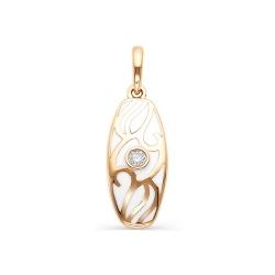 Золотая подвеска с бриллиантом и эмалью