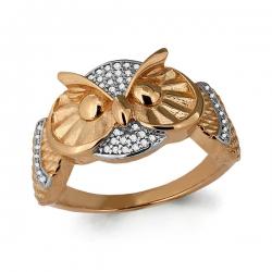 Золотое кольцо Сова с фианитом