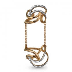 Золотое кольцо на две фаланги с фианитом
