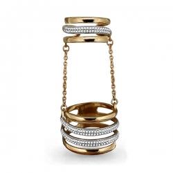 Золотое кольцо Геометрия на две фаланги с фианитом