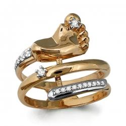 Золотое кольцо На рождение ребенка с фианитом