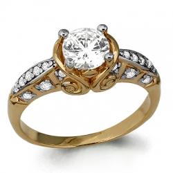 Помолвочное золотое кольцо с фианитом