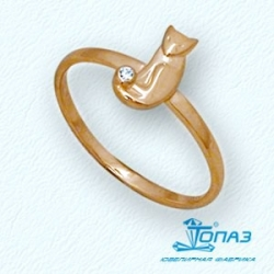 Детское золотое кольцо Кот с фианитом