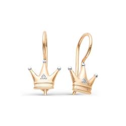 Детские золотые серьги Короны бриллиантами