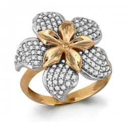 Золотое кольцо в виде цветка с фианитом