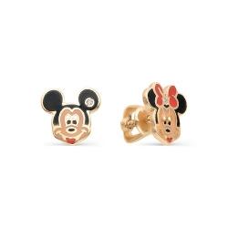 Золотые серьги гвоздики Микки и Минни с бриллиантами