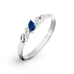 Кольцо из белого золота с сапфиром, бриллиантами