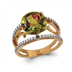 Золотое кольцо с султанитом, фианитом