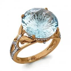 Золотое кольцо с топазом, фианитом