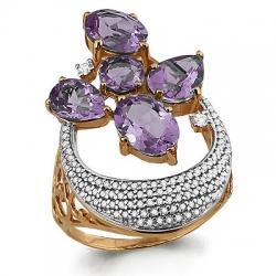 Золотое кольцо с аметистом, фианитом