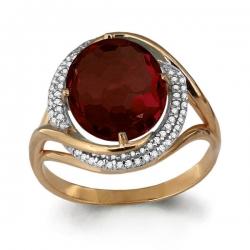 Золотое кольцо с гранатом, фианитом