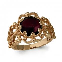 Золотое кольцо Винтажное с гранатом