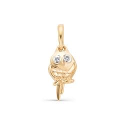 Золотая подвеска Сова с бриллиантами