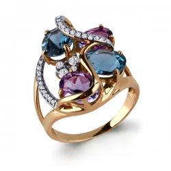 Золотое кольцо с топазами, аметистами и фианитами