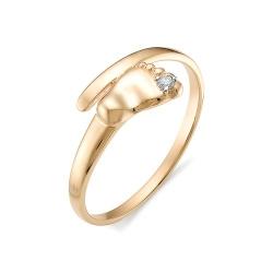 Золотое кольцо в виде детской ножки с бриллиантом