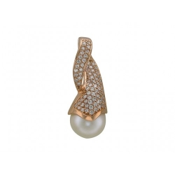 Золотая подвеска c белым жемчугом, бриллиантом