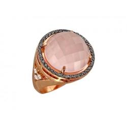 Золотое кольцо c кварцем, бриллиантом, черным бриллиантом