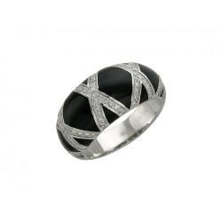 Женское кольцо из белого золота c эмалью, бриллиантом