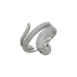 Женское кольцо из белого золота c черным бриллиантом, бриллиантом