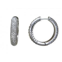 Серьги конго из белого золота c бриллиантом
