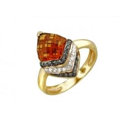 Женское кольцо из желтого золота c кварцем, бриллиантом, черным бриллиантом
