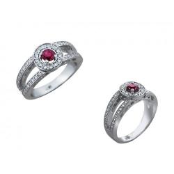Женское кольцо из белого золота c рубином, бриллиантом