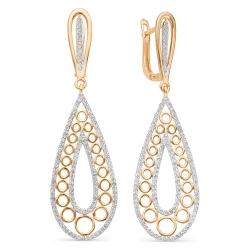 Золотые серьги с крупными бриллиантами